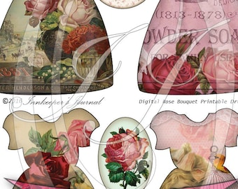 Rose Bouquet Vintage Dress Tags