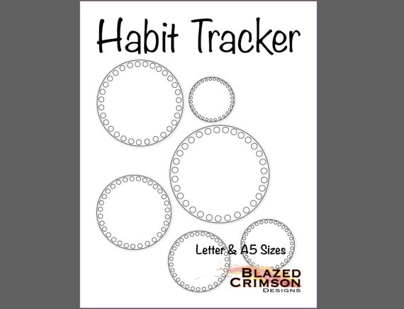 Circle Habit Tracker Bullet Journal - Planner Pages - Letter & A5 ...