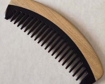 Organic Wide Tooth Black Buffalo Horn and Green Sandalwood Hair and Beard Comb Beard Basics Hair Comb
