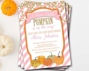Pumpkin Baby Shower Invitation, Fall Baby Shower Invitation, Glitter Baby Shower, Halloween Baby Shower, Printable Invitation,DIY Printable