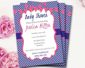 Pink And Navy Baby Shower Invitation, Pink And Navy Baby Shower, Pink And Navy Invitation, Girl Baby Shower, Gender Neutral, DIY Printable