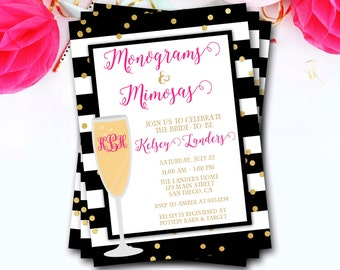 Monograms And Mimosas Bridal Shower Invitation, Monograms And Mimosas Invitation, Brunch And Bubbly, Glitter Invite, DIY Printable