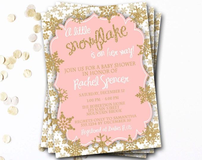 Snowflake Baby Shower Invitation, Winter Baby Shower, Pink and Gold Baby Shower Invitation, Snowflake Invitation, DIY Printable