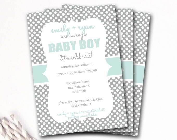 Blue and Gray Baby Shower Invitation, Boy Shower Invite, Baby Shower Boy, Preppy Baby Shower Invitation, Boy Baby Shower, DIY Printable