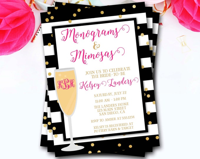 Monograms And Mimosas Bridal Shower Invitation, Monograms And Mimosas Invitation, Brunch And Bubbly, Glitter Invite, DIY Printable