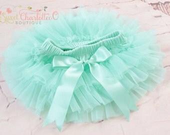 Baby Mint TUTU Bloomers,Ruffles All Around Bloomer,Chiffon Ruffle Diaper Cover,Newborn Photo Prop,Baby Bloomers,Baby TUTU Skirt