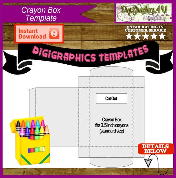 Crayon box printable template instant download png format for Crayon labels template