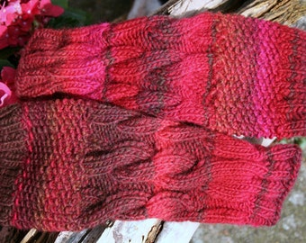 fingerless gloves, hand warmers, gloves, wrist warmers, arm warmers braid wool red pink