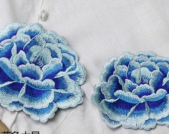 1pcs Lace Applique Blue Peony Floral Embroidery Applique Exquisite