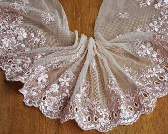 """2 yards Lace Trim Ivory Tulle Pink Flower Embroidery Tulle Lace Trims 3.93"""" Wide"""
