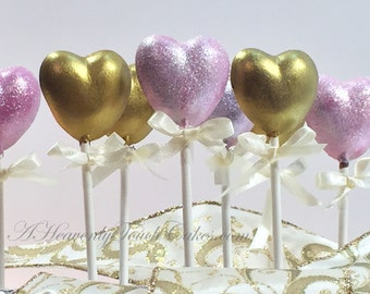 Pink and Gold Heart Chocolate Lollipops ~ Individually wrapped party favors ~ Pink Glitter and Metallic Gold Candy Buffet - Princess Party