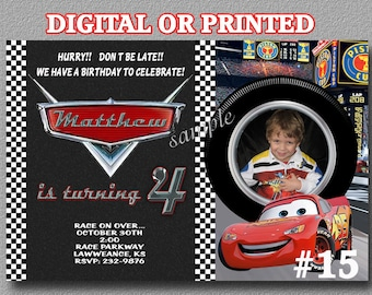 Disney Cars Birthday Party Invitation YOU Print Digital File or PRINTED with photo