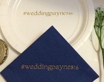 50 Personalized Plates / 50 Personalized Napkins Custom Hashtag Hash Tag Wedding  Monogram Baptism Engagement Birthday Party Bridal Shower