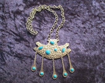 Vintage Silver-Tone Necklace with Faux Turquoise Stones