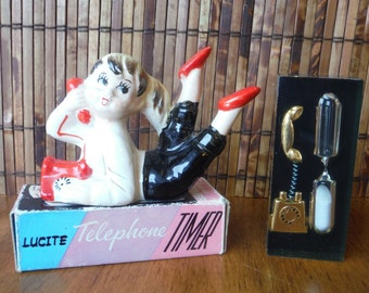 Vintage 1960's Kitschy Lucite Telephone Timer in Box - Vintage Ceramic Girl on Telephone Figurine - Vintage in Box Lucite Hourglass Timer