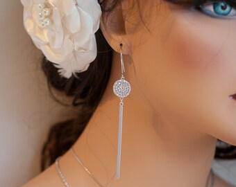 Long bar dangle earrings long stick earrings long bar and pave coin earrings long stick dangle earrings silver pave dangle earrings silver