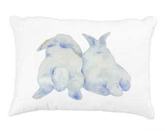 """Easter Pillow Cover, Watercolor Bunny Pillow Cover 12""""x16"""", Rabbit Decor, Rabbit Pillow, Bunny Decor, Nursery Pillow, Nursery Decor,"""