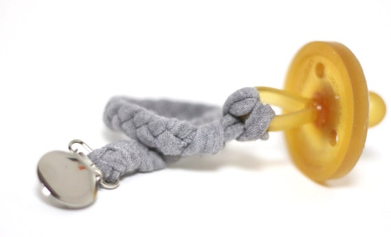 Boy Pacifier Holder / HEATHER GREY Braided Pacifier Clip / soothie / binky clip / pacifier holder