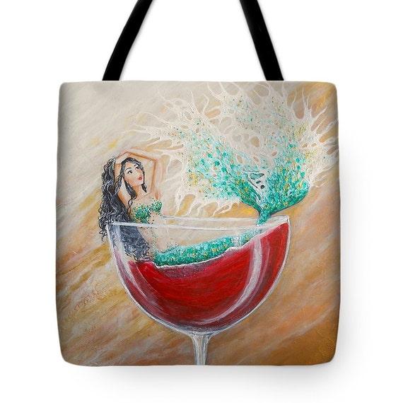 Mermaid tote bag mermaid beach bag mermaid wine humor tote