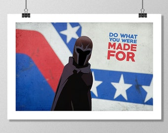 "X-MEN Days of Future Past Inspired Magneto ""Do What You Were Made For"" Minimalist Movie Poster Print - 13""x19"" (33x48 cm)"