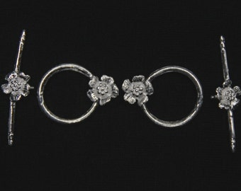 2 X Sterling Silver Flower Toggle Clasps