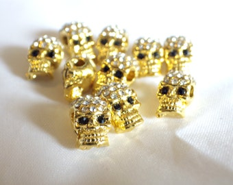 10 x Crystal Pave Zinc Alloy Skull Beads With Rhinestones Side Holes Gold Colour