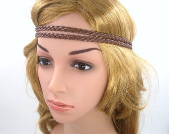 Brown Boho Headband,Brown Leather Braided Bohemian Tribal Hippie Headband,Brown Double Stranded Headband,Girls Teen,Women Men Adult Hairband