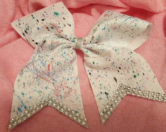 Splash Paint Cheer Bow with Bling