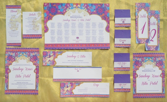 Asian - Wedding - Full Stationary Suite - Mehndi - Henna - Purple - Gold - Purple - Personalised - Printable - PDF - Digital