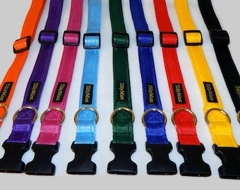 Dog Collar/Cushioned Webbing/ Side Release Fastening/Choice of Colours/Handmade/Size S-M-L-XL