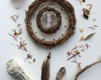 Pink Opal || Larvikite || Double || Earthy || Grapevine || Dreamcatcher || Wall Hanging