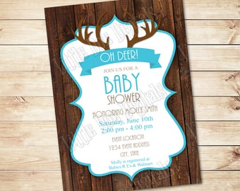 Personalized DEER ANTLER on Wood Baby Shower Invitation - Digital File - Boy Invitation  - 5x7 or 4x6 - Blue & Brown