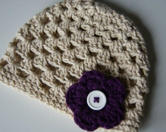 Newborn Baby Girl Hat, Crochet Baby Hat, Beige Baby Hat, Coming Home Outfit, Baby Girl, Beige Newborn Hat