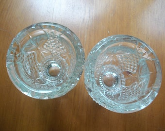 Vintage Pressed Glass Candle Holders