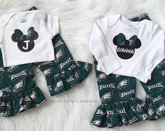 Philadelphia Eagles Bodysuit with Name or Initial and Ruffle Pants Set 2pc,  Bodysuit and Ruffle Pants Philadelphia Eagles 2pc Set