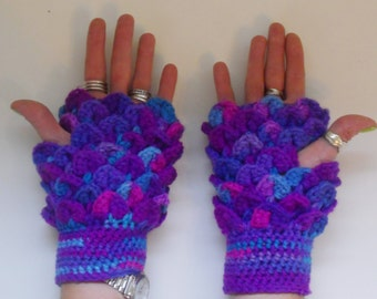 Candy Color Dragon Fingerless Gloves