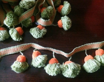 1970s Orange and Green Pompom Rickrack Trim