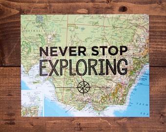 "Australia Map Print, Never Stop Exploring, Great Travel Gift, 8"" x 10"" Letterpress Print"