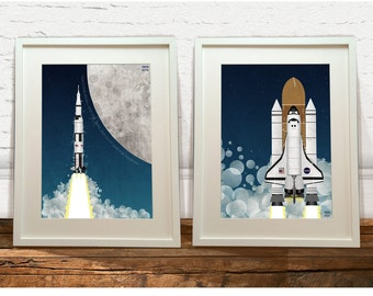 Apollo Rocket and Space Shuttle Art Print