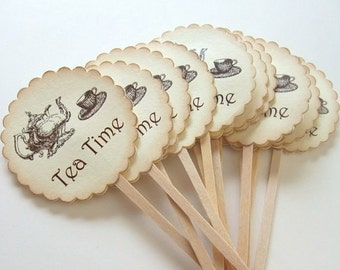 Tea Time, Cupcake Toppers, Vintage Inspired, Tea Party, Bridal Shower, Tea, Vintage, Teapot & Teacup, Cupcake Picks, Set of 6 or 12