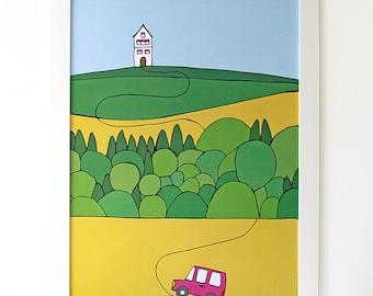 House on a hill | Poster | Illustration | Nursery Art |