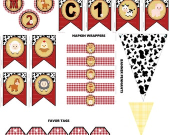 2nd Birthday Farm Party Supplies, DIY Printable Barnyard Party, Cowboy Farm Party, Farm Animals Party, Farm Theme Party - Printables 4 Less