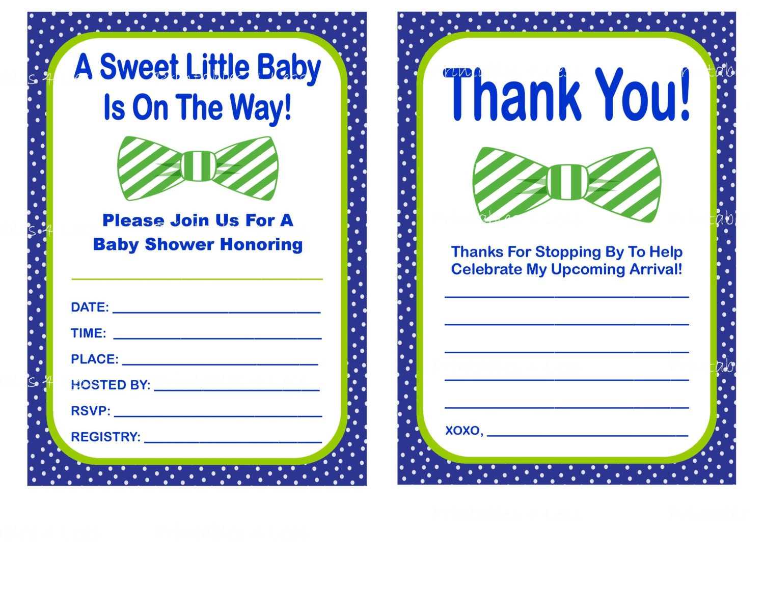 blue bow tie baby shower invitation bow tie baby shower thank