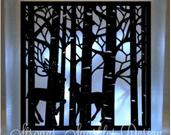 Deer in forest Vinyl Decal DIY for Glass Block