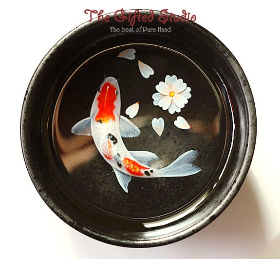 Koi fish resin painting in the japanese teacup with a free for Resin koi fish