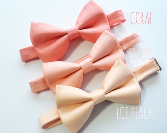 3 different shade of Peach bow tie For baby/Toddler/Teen/Adult/with Adjust strap/Clip on