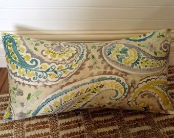 Gray w/ Blue and Green Paisley Pillow Cover, 12 x 24