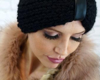 Vintage black winter wool Headband