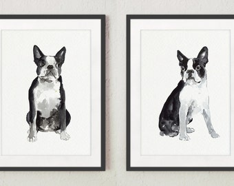 Boston Terrier Watercolor Painting, Dog Print Gift Idea, Abstract Dog Portrait Set 2 Art Prints, Black White Wall Decor Nursery Illustration