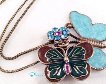 Sale- Antiqued Brass Box Chain with Butterfly and Flower Charms, Long Chain